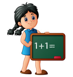 girl holding board with numbers vector image