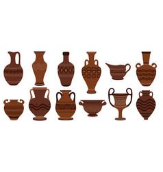 greek clay pots clay roman vector image