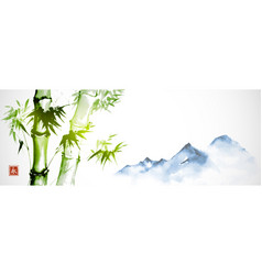 green bamboo and far blue mountains on white vector image
