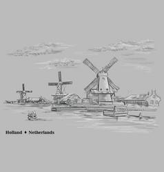 Grey hand drawing holland 2 vector