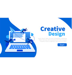 group small people doin ui and ux design or vector image