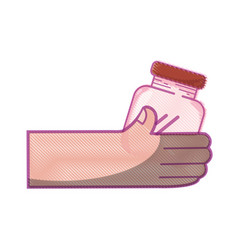 Hand with crystal jar to save things vector