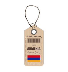 hang tag made in armenia with flag icon isolated vector image