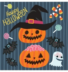 Happy halloween set vector