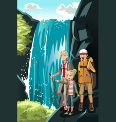 hiking family vector image