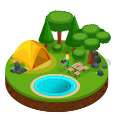 Isometric camping man cooking steaks bbq vector
