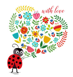 Ladybird with heart of flowers vector