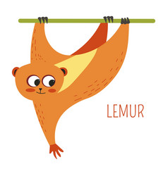 Lemur monkey cartoon south east asia animal vector