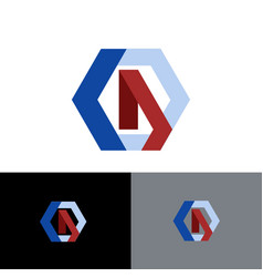 letter d shape hexagon business logo vector image