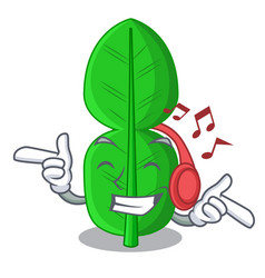 Listening music bergamot leaf in a character funny vector