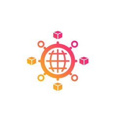 Logistics network icon parcel tracking vector