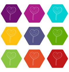 lollipop heart icons set 9 vector image
