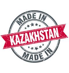 Made in kazakhstan red round vintage stamp vector