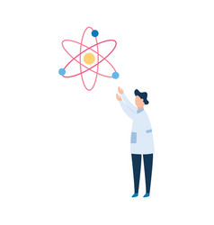 man brunet scientist or physicist in a white vector image