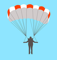 Man goes down on a parachute flat vector
