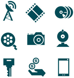 Media technologies icons set vector
