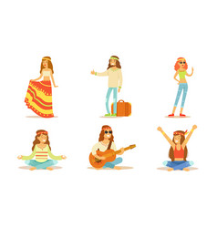 men and women hippie characters set people vector image