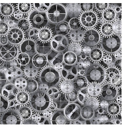 Metal realistic cogwheel background vector