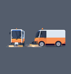 modern street sweeper truck front and side view vector image