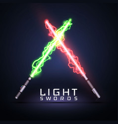 neon electric light swords crossed light sabers vector image