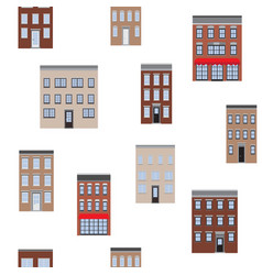 old houses seamless pattern flat lay vector image