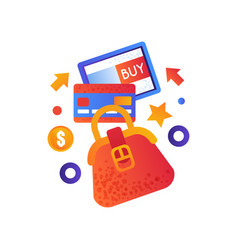 online shopping symbols female bag credit card vector image