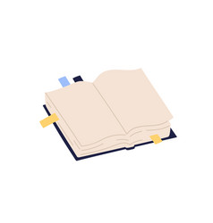 open paper book with empty pages and colorful vector image