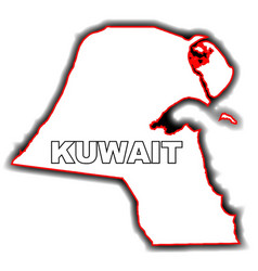 Outline map of kuwait vector