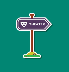 paper sticker on stylish background theater sign vector image