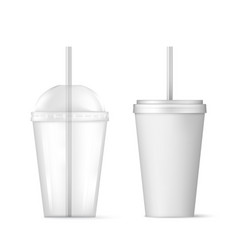plastic transparent disposable cup with straw for vector image