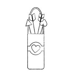 quiver love arrows cupid equipment vector image