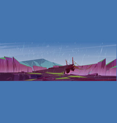 Rain in mountains with suspension bridge vector
