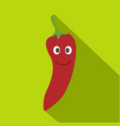 Red hot chili pepper smiling icon flat style vector