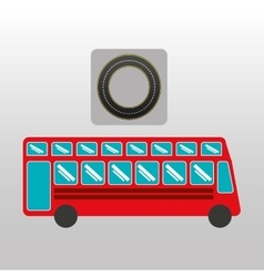 Red london bus circle road way design vector