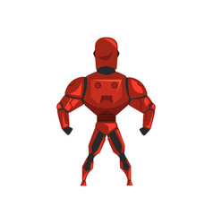 Red robot spacesuit superhero cyborg costume vector