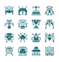 Robot line icon set with displaced fill vector
