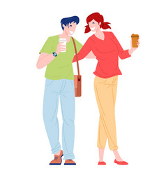 romantic couple young woman and man walking vector image
