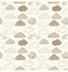 Seamless background with beige doodle clouds can vector