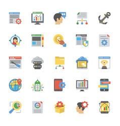 seo and web optimization flat icons vector image