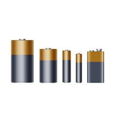 Set alkaline batteries different size aaa aa vector