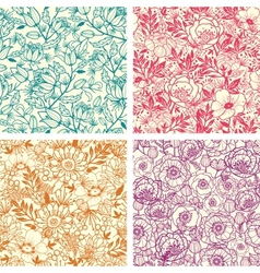 Set four floral line art seamless pattern vector