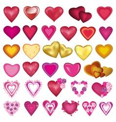 Set heart for valentine wedding birthday vector