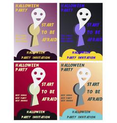 Set of halloween concepts pumpkin and spider web vector