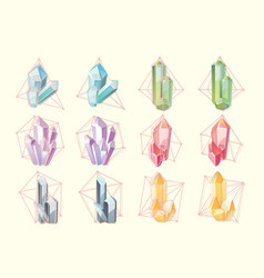 set of isolated contour of gemstones vector image