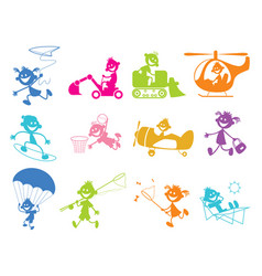 Set of playing children vector