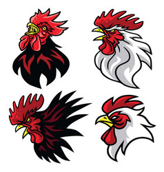 set rooster fighting sports mascot logo premium vector image