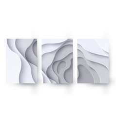 set three abstract white paper cut banners vector image