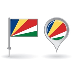 Seychelles pin icon and map pointer flag vector image