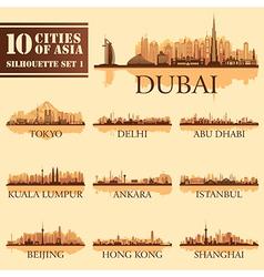 Silhouette city set asia 1 vector
