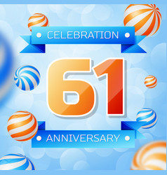 Sixty one years anniversary celebration design vector